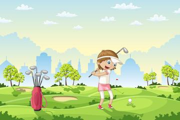 Girl plays golf on a golf course, vector illustration