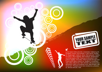 Skateboarder On Abstract Background