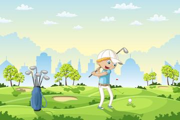 Boy plays golf on a golf course, vector illustration