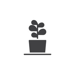 Plant in flower pot vector icon. filled flat sign for mobile concept and web design. Growing plant simple solid icon. Symbol, logo illustration. Pixel perfect vector graphics