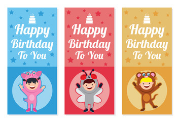 birthday banner with kids in animal costume