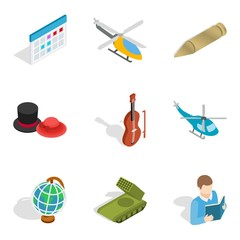 Specialty icons set, isometric style