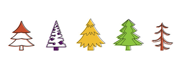 Fir tree icon set, color outline style
