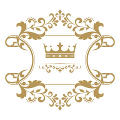 Gold crown in a vintage frame on a white background. Stylish vec