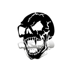 Aggressive skull with open jaw, black silhouette with shadow on white background,