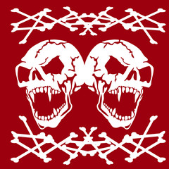 Two Aggressive Skulls of white color with open jaw, abstract silhouette banner on  red background,
