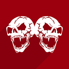Two Aggressive Skulls of white color with open jaw, abstract square icon of flat style, silhouette on red background,
