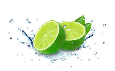 lime water splash isolated on white