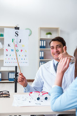 Doctor with patient at eye exam