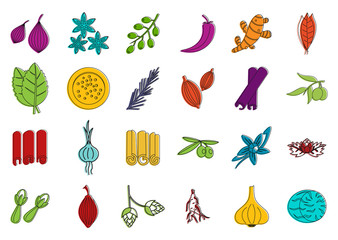 Spices icon set, color outline style