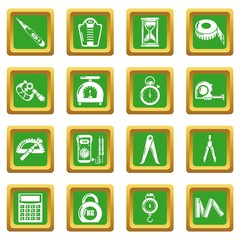 Measure precision icons set green square vector
