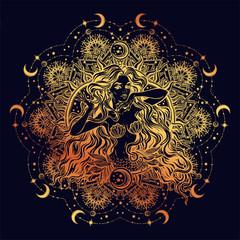 Mermaid girl with mandala frame moon.