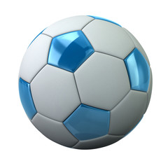 Blue and white soccer ball  3d illustration on white background