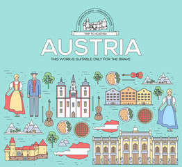 Country Austria travel vacation guide of goods, places and features. Set of architecture, people, culture, icon background concept. Infographics template design for web and mobile. On thin lines style