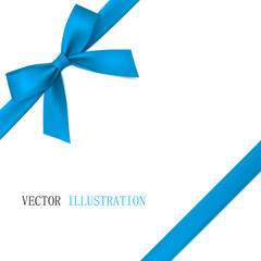 Blue bow with diagonally ribbon on the corner. Vector.
