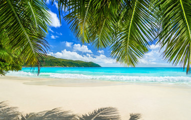 Tropical beach Anse Lazio at Praslin island, Seychelles. Most beautiful beach in the world.