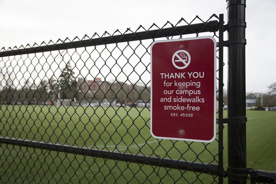 Smoke-free zone sign on chain link fence with green grass sports field in background