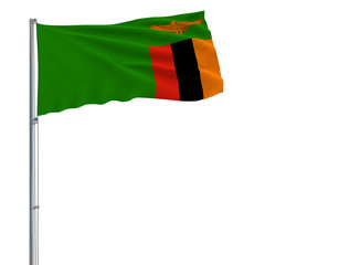 Isolate flag of Zambia on a flagpole fluttering in the wind on a white background, 3d rendering.
