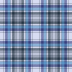 Blue tartan check plaid fabric seamless pattern