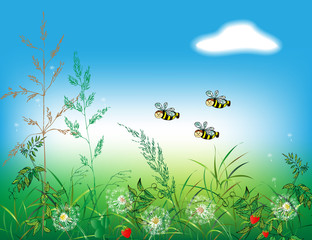 Bees fly on a summer day over a meadow with wildflowers, dandelions and strawberries. Can be used to create a children's book.