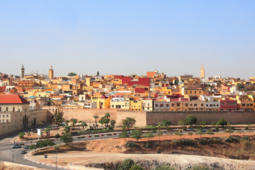 Aerial view on medina of Fez behind the fortress wall, Morocco