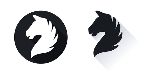 Horse head vector icon with shadow isolated on white. Horse head logo. Horse head silhouette.
