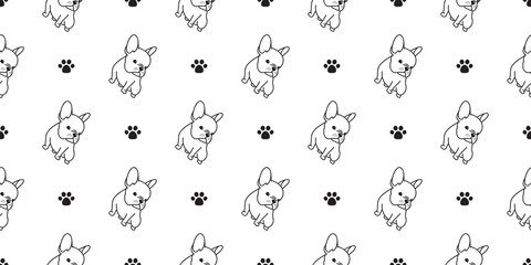 dog seamless pattern vector french bulldog pug dog paw isolated wallpaper background cartoon doodle