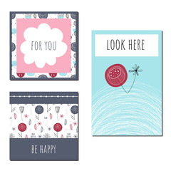 Template cards with Scandinavian pattern. Vector greeting card