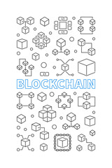 Blockchain technology vertical background or poster
