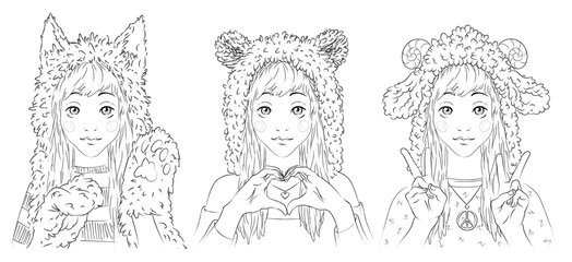 Portraits of cute young women in animal hats. Girl in cat hat and paw gloves. Girl in bear hat making heart sign by her hands. Girl in sheep hat showing peace sign. Vector illustration.