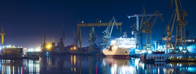 industrial areas of the shipyard in Szczecin in Poland,high resolution panorama Fotomurales