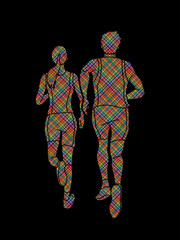 Couple running together, Marathon runner designed using colorful pixels graphic vector