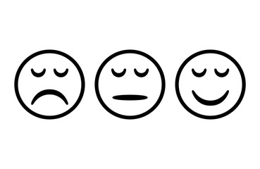Smileys with arc eyes. Emoticons icon negative, neutral and positive,  different mood. Vector illustration.