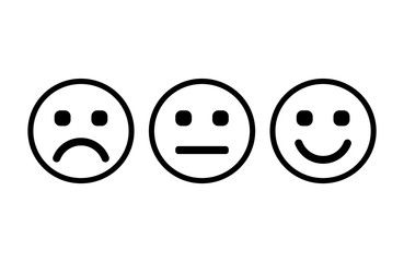 Smileys with rounded square eyes. Emoticons icon negative, neutral and positive, different mood. Vector illustration.