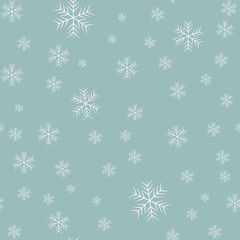 Snowflake simple seamless pattern. Black snow on white background. Abstract wallpaper, wrapping decoration. Symbol of winter, Merry Christmas holiday, Happy New Year celebration
