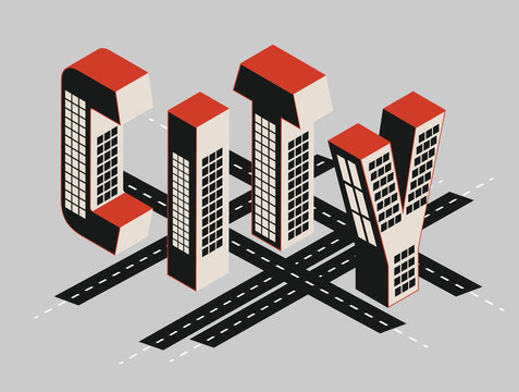 City map and title with isometric building letters in red and black