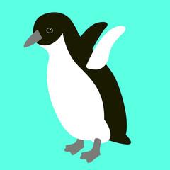 penguin bird  vector illustration flat style  front