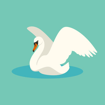 swan vector illustration flat style profile side