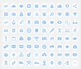 Icons for multimedia, social networks, medicine, business, chatting and industry