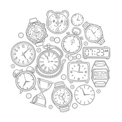 Hand drawn clock, wrist watch doodles time vector concept