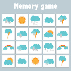 Memory game with pictures (weather theme) for children, fun education game for kids, preschool  activity, task for the development of logical thinking, vector illustration