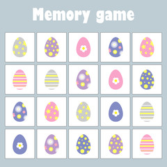 Memory game with pictures (easter theme) for children, fun education game for kids, preschool  activity, task for the development of logical thinking, vector illustration