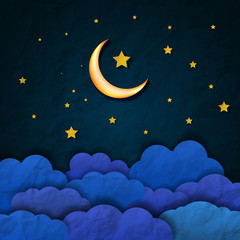 Midnight landscape with moon, stars, and cloud. Vintage midnight landscape. Cloud, moon and stars in midnight. Night sky.