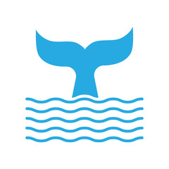 Abstract symbol of whale tail and sea wave.