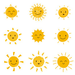 Cute happy sun with smiley face. Summer sunshine vector set isolated
