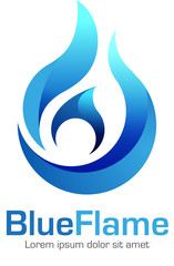 Vector abstract, blue flame symbol