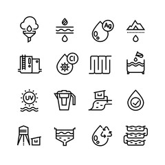 Effluent water treatment. Water purification linear vector icons