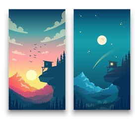 Day and night flat vector mountain landscape with moon, sun and clouds in sky. Vector concept for weather app