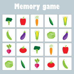 Memory game with pictures (different vegetables) for children, fun education game for kids, preschool activity, task for the development of logical thinking, vector illustration