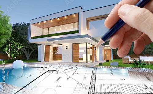 Esquisse d\'architecte d\'une maison moderne\